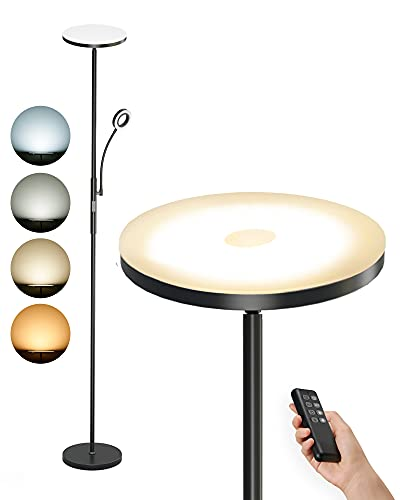 Anten Stehlampe LED Dimmbar | Schwarz Stehleuchte 30W mit flexibler 5W Leselampe | Modern Deckenfluter 2000LM mit 3 Farbtemperatur für Wohnzimmer, Schlafzimmer, Büro, Hotel