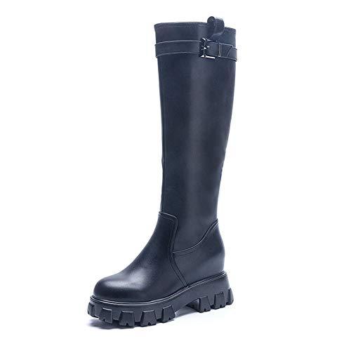 AQTEC Damen Höhe Stiefel Leder Warme Fell Gefüttert Lange Stiefeletten Plateau Winter Kniehohe Stiefel Langschaft Boots,Schwarz,38 EU