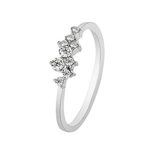 Anillo de joyería simple y personalizado para mujer, exquisito anillo de joyería de moda, adecuado para el día a día, fiestas, regalo para madre, novia, buen amigo (Plateado, E).