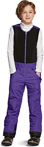 TSLA Kids Little Boys Girls Baby Winter Snow Bibs, Waterproof Insulated Snowboard Overalls, Ripstop Ski Pants, Fleece Top Overall(bko61) - Purple, 5T_[5-6Y]