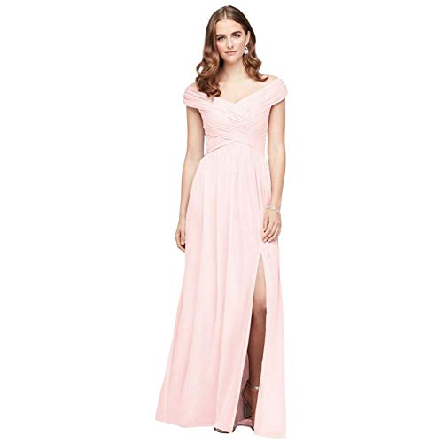 David's Bridal Crisscross Off-The-Shoulder Mesh Bridesmaid Dress Style F19951, Petal, 10