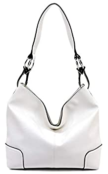 Fashion Hooked Single Strap Classic Hobo Bucket Bag Purse Womens Satchel Classic Handbag  White