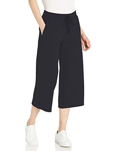 Amazon Essentials French Terry Fleece Wide-Leg Crop Sweatpant Pantalones Deportivos, Negro, M