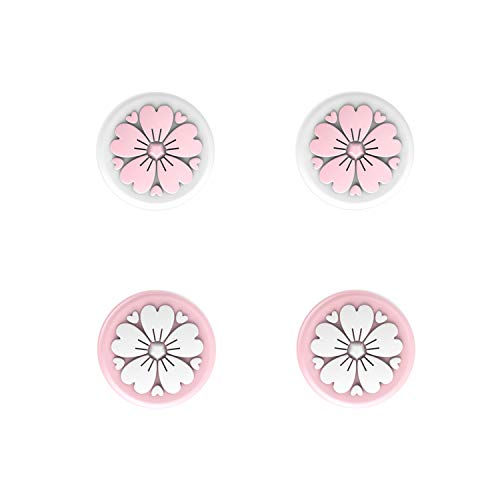 LeyuSmart Sakura Flower Thumb Grip Caps, Joystick Cap for Nintendo Switch & Lite, Soft Silicone Cover for Joy-Con Controller ( Pink&White)