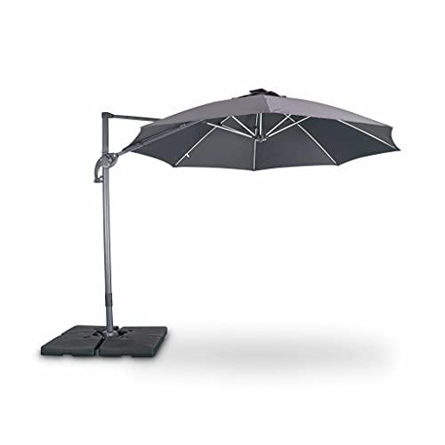 Alices Garden Parasol LED déporté Rond Ø300 cm – Dinard – Gris – Parasol exporté. inclinable. Rabattable et Rotatif à 360°. Baleines en Fibre de Verre