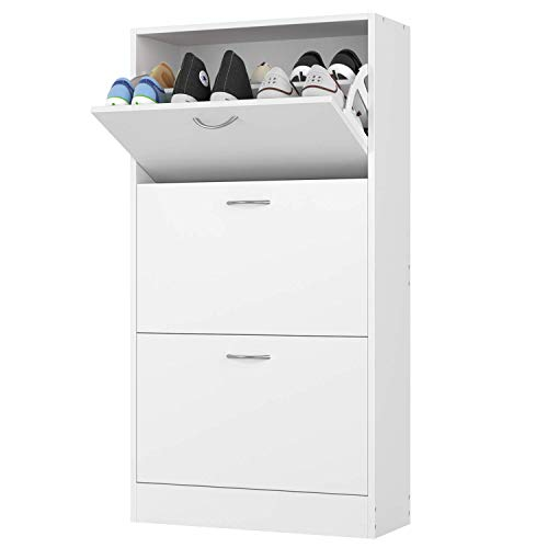 Homfa 3 Tier Shoe Cabinet Shoe Storage Rack Wooden Shoe Cupboard Organizer for Hallway with 3 Drawers White 57.5x23.8x108cm