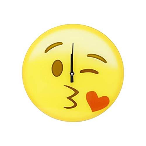 Cisne 2013, S.L. Reloj de Pared para el hogar diseño Emoji Beso Tamaño 30cm. Reloj de Cocina o baño Estampado Emoticono Beso.