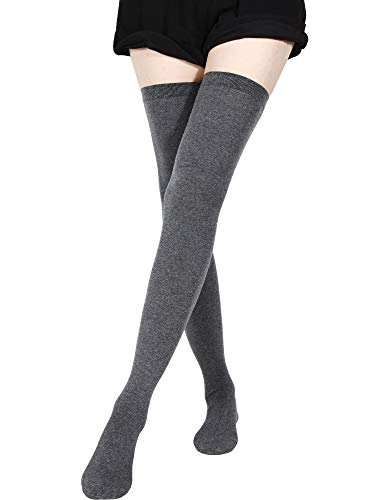 SATINIOR Extra Lange Socken Oberschenkelhohe Baumwollsocken Extra Lange Stiefelstrümpfe für Frauen (Dunkelgrau, 1)