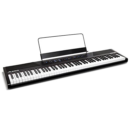 Alesis Recital - Teclado de Piano Digital Eléctrico con 88 Teclas Semipesadas de Tamaño Completo, Fuente de Alimentación, Altavoces Incorporados y 5 voces de Primera Calidad