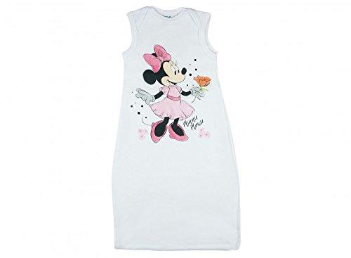 Disney - Minnie Mouse Baby- Mädchen Sommer-Schlafsack ÄRMELLOS Baumwolle, UNGEFÜTTERT, in Zwei Längen, unten zuziehbar,Pucksack 56 62 68 74 Größe 2, Farbe Weiss