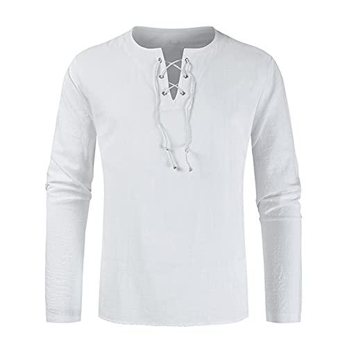 Xmiral Camicetta Top Camicie Uomo T-Shirt Tinta Unita Colletto Allacciato Allacciato Camicia a Maniche Lunghe (L,1bianca)