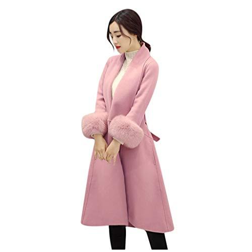 FRAUIT Wollmantel Dames Faux bont jassen mantel button parka revers trenchcoat warm mantel winterjas wasbaar outwear met tassen casual feestelijke kleding blouse top outwear