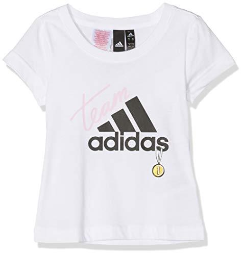 adidas Mädchen ID Graphic T-Shirt, Weiß/Schwarz, 128