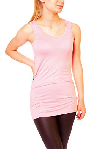 Easy Young Fashion Damen Basic Tank Top Träger Hemd Longtop Unterhemd Extra Lang Skiny Fit One Size Altrosa, Hellrosa