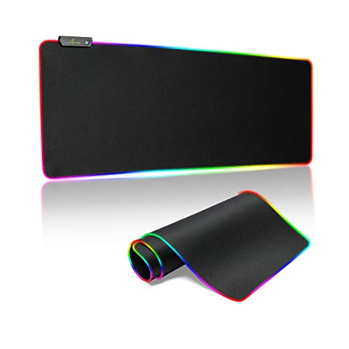 RGB Gaming Mouse Pad,Large Extended Led Mouse Pad with 14 Lighting Modes,Waterproof Surface Mouse Mat,Non-Slip Rubber Base Gaming Mouse Pad for Gamer(31.5' x 11.8')