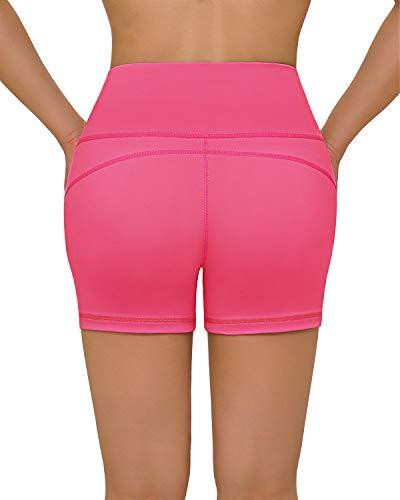 FAFAIR High Waist Shorts Damen Kurze Sporthose Laufshorts mit Tasche Blickdicht Wandershorts Sommer Pink M