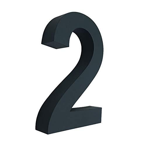 3D Hausnummer Nr.2 anthrazit RAL 7016 Edelstahl V2A rostfrei witterungsbeständig Höhe 20cm inkl. Montagematerial erhältlich 0 1 2 3 4 5 6 7 8 9 a b c d