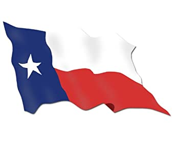 WAVING State Flag of Texas Sticker  car decal