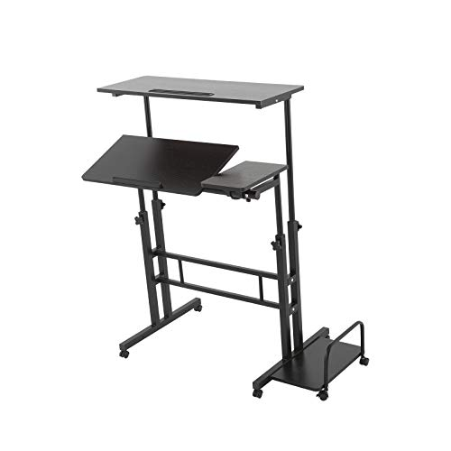 MorNon Height Adjustable Sit Stand Workstation Mobile Stand Up Desk Height Adjustable Computer Work Station Rolling Presentation Cart, Black