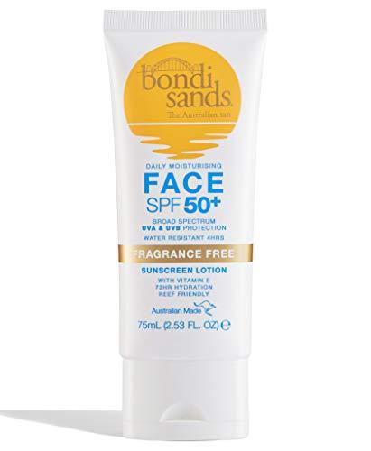 Bondi Sands Fragrance Free Face Sunscreen Lotion SPF 50+ | Gentle Formula Moisturises + Provides Broad-Spectrum Protection, Enriched with Aloe Vera and Vitamin E, Vegan + Cruelty Free | 75 mL/2.53 Oz