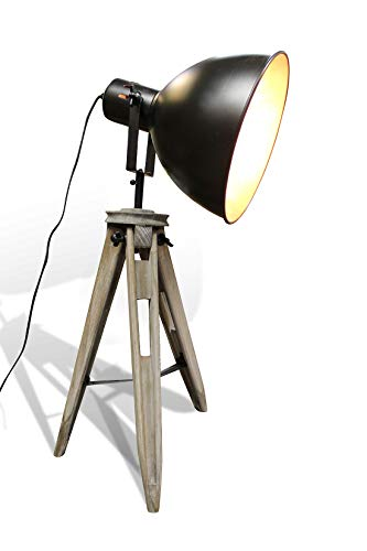 STUDIO vloerlamp en driepoot-lamp, industriële look, hout en metaal, koper, draaibaar Klein