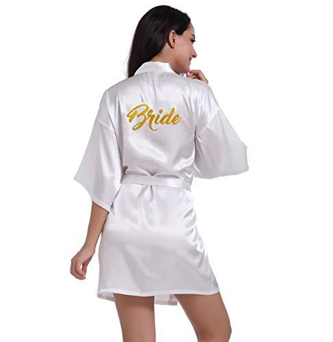 BOYANN Novia Estampado en Caliente Ropa de Dormir Sexy Batas y Kimonos de Satén, Blanco M