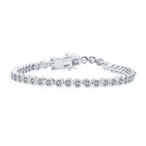 Braut 10Ct Einfache Zirkonia Lünette Runde Solitär Aaa Cz Tennis Armband Für Frauen Für Prom 925 Sterling Silber