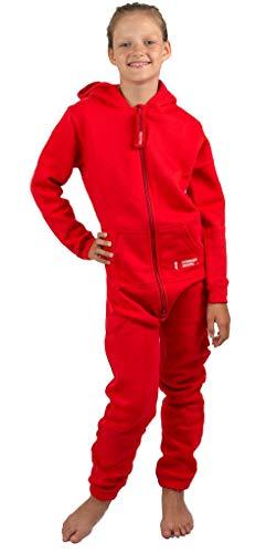 Gennadi Hoppe Kinder Jumpsuit - Jungen, Mädchen Onesie Jogger Einteiler Overall Jogging Anzug Trainingsanzug, rot,146-152