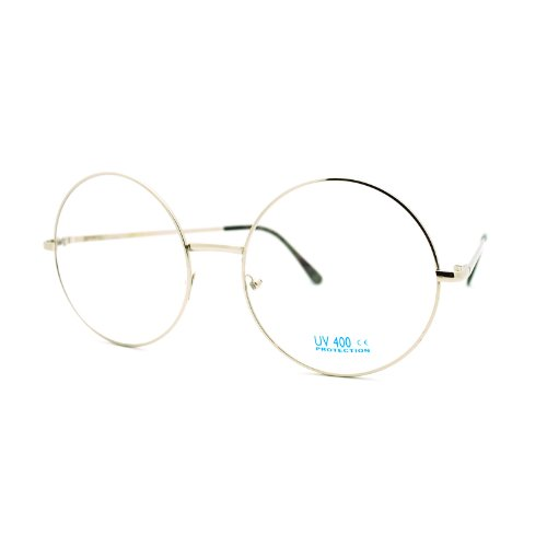 Super Oversized Round Circle Frame Clear Lens Glasses Silver
