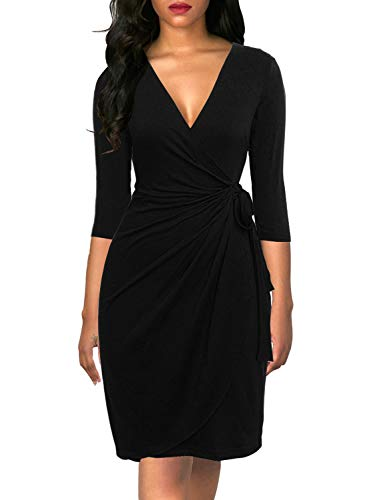 Berydress Women's Vintage 3/4 Sleeve V-Neck Knee-Length Sheath Draped Belt Faux Black Wrap Dress (XL, 6083-Black)