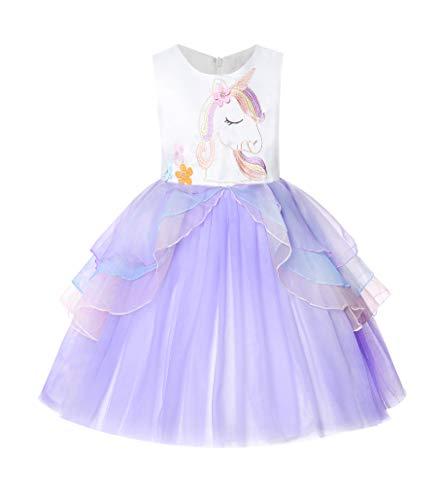 Umupi Unicornio Niña Fiesta De Cosplay Boda Partido Tul Vestido De Princesa (4 años, Morado)