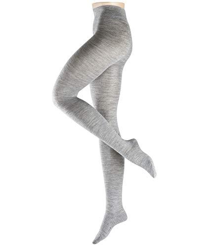 ESPRIT dames panty Plain - wolmix, 1 stuk, grijs (Light Grey Melange 3390), maat: L