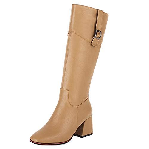 SJJH Botas de tacón alto para mujer con tacón grueso, color Negro, talla 38 EU
