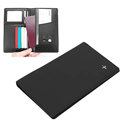jadenzhou Cartera antirrobo, Material de Piel sintética Soporte para Pasaporte de Larga Vida útil para Oficina para Empresas para Familiares para colegas(Black, x-50#)