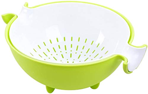 CHICHIC 2in1 kitchen Strainer/Colander amp Bowl Sets Large Plastic Washing Bowl and Strainer Detachable Colanders Strainers Set SpaceSaver for Fruits Vegetable Cleaning Washing Mixing Green