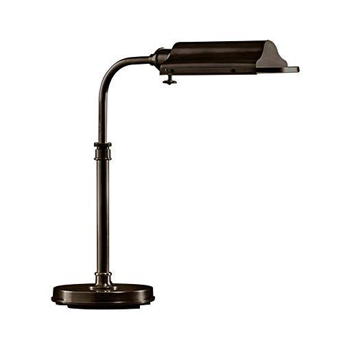 WEM Lámpara de escritorio industrial vintage, lámpara de trabajo de acero inoxidable E27, iluminación interior que cuida la vista, luz de mesa rústica de 40 W para lectura, trabajo, oficina, dormitor