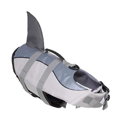 TOORY mural Traje De Baño para Perros Chalecos Salvavidas para Perros Ropa De Verano para Mascotas Chaleco Salvavidas para Perros De Tiburón Flotante Transpirable Oxford para Perros-Gris_L