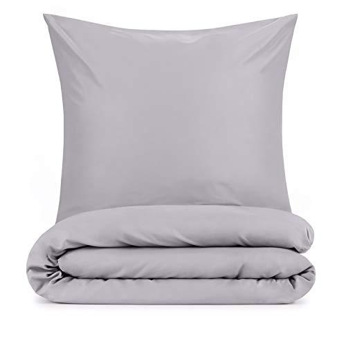 Blumtal Mikrofaser Bettwäsche 135x200 cm + Kissenbezug 80x80 cm - Superweiches Bettbezug Set, 2 teilig, Grau