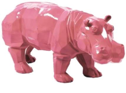Estatua de resina decorativa hipopótamo 95 cm rosa origami