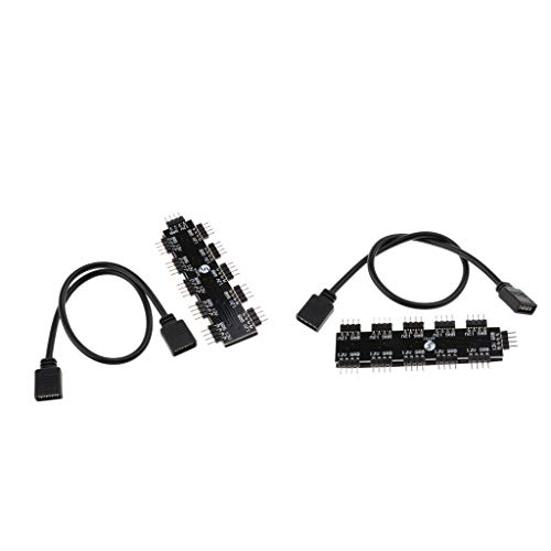 IPOTCH 2PACK 10 Canales RGB Cooler Fan Hub Splitter Light Controller Extension 4Pin