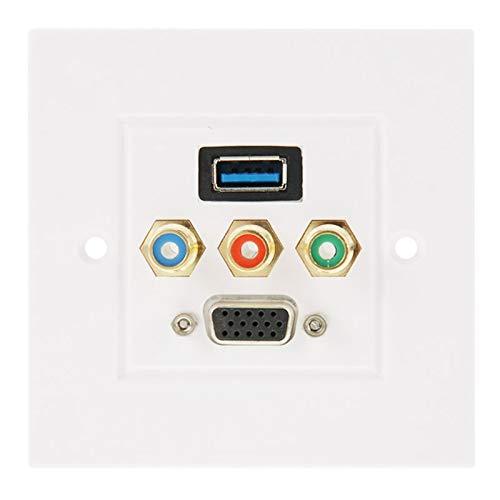 3.0 Mujer Plug + 3 RCA Hembra Enchufes + VGA Hembra de Enchufe Placa de Pared Panel Panel Enchufe USB, Monsteramy