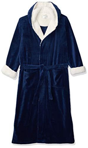 Alexander Del Rossa Men's Warm Fleece Robe with Hood, Plush Big and Tall Bathrobe, 1X-2X Navy Blue with Sherpa (A0262NBL2X)
