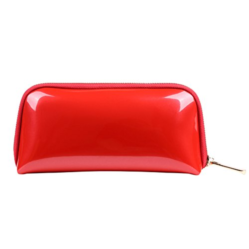 Yuanu Tragbar Große Kapazität Schale-Shaped Waschbeutel, Simple Reine Farbe Reißverschluss Kosmetiktasche Kulturbeutel Mit Fächern Rot 21.5 * 5 * 10.5 cm