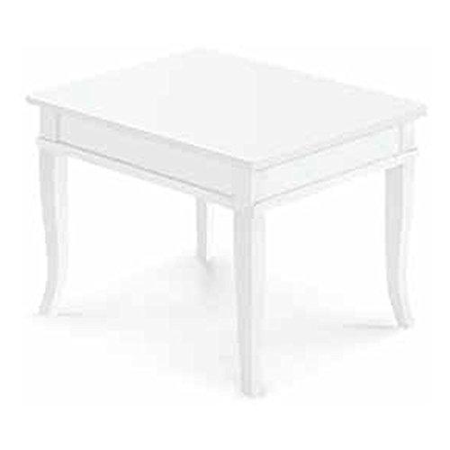 Table Basse carré, Style Classique, en Bois Massif et MDF avec Finition Blanc Mat - Dim. 60 x 60 x 45