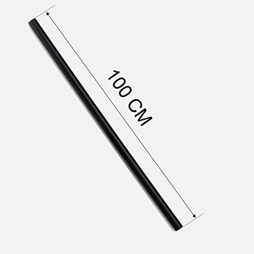 Auralum Barra de ducha redonda de 100 cm, color negro, accesorio para sistema de ducha
