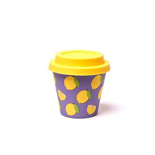 QUY CUP Tazza Espresso in bambù. 90ml. Limoni. Design Italiano Esclusivo. Realizzate con Fibre Naturali. Sostenibile. Senza BPA. Tazza Portatili e riutilizzabili. Bio-Based Material. Coperchio incl.