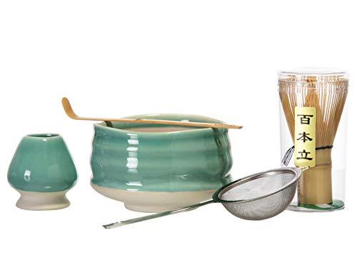 Chaqi Matcha-Zubehör-Set enthält 5 Teile: Bambus-Schneebesen, Bambus-Schaufel, Edelstahl-Teefilter, Matcha-Schüssel und Schneebesen grün