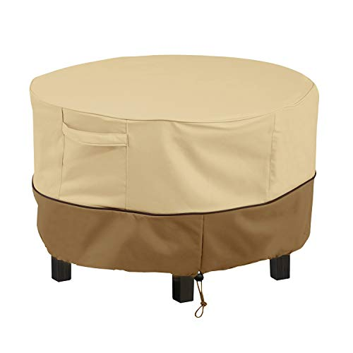 HOME DISTRICT Patio Table Cover - Round Outdoor Dining Table Furniture Protector with Adjustable Toggles, Click Close Straps, 48' x 26'