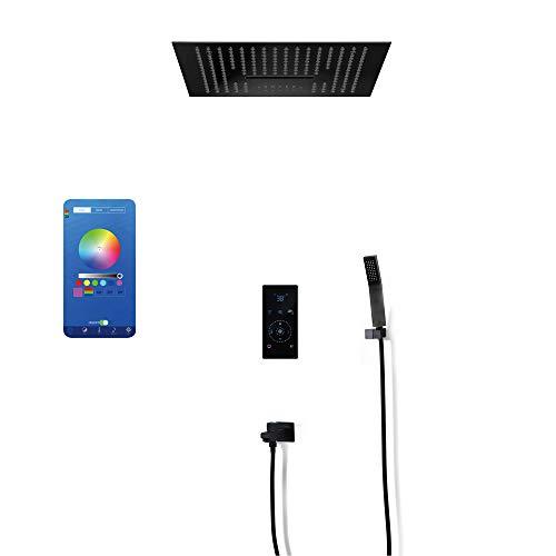 BILLY'S HOME Sistema de Ducha de Lujo, 3 Functiveinteligent Touch Termostático Válvula de Control LED 16 Pulgadas Música Ducha de Lluvia con Dos Funciones Spray, Lluvia Lluvia Ducha Faucet Faucet Set