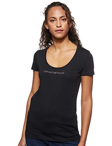 Emporio Armani Underwear Visibility-Basic Cotton T-Shirt, Nero (Nero 00020), 44 (Taglia Unica: Medium) Donna
